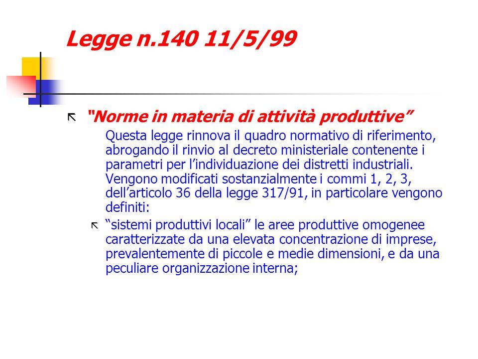 Legge n.140 11/5/99 Norme in materia di attività produttive