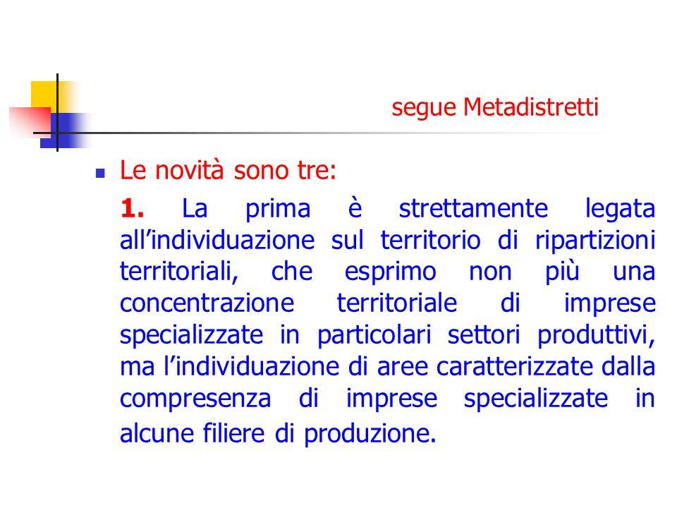 segue Metadistretti Le novità sono tre: