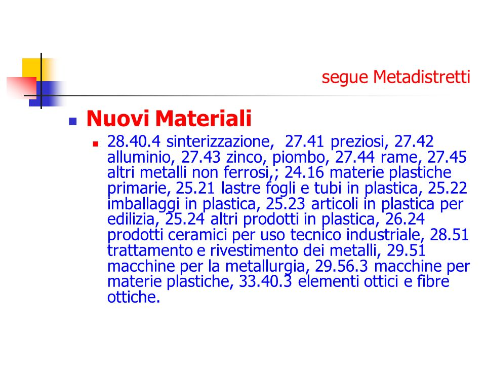 Nuovi Materiali segue Metadistretti
