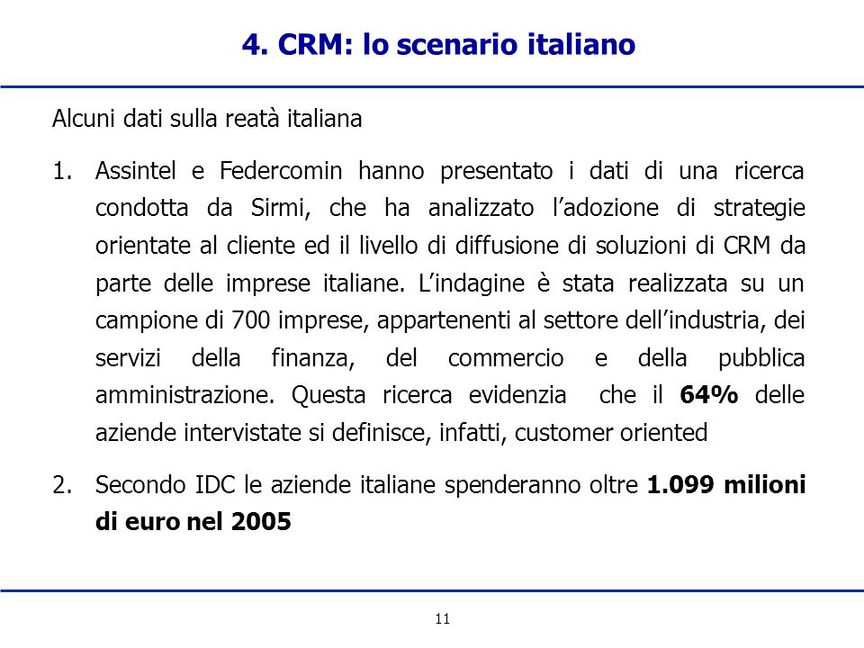 4. CRM: lo scenario italiano