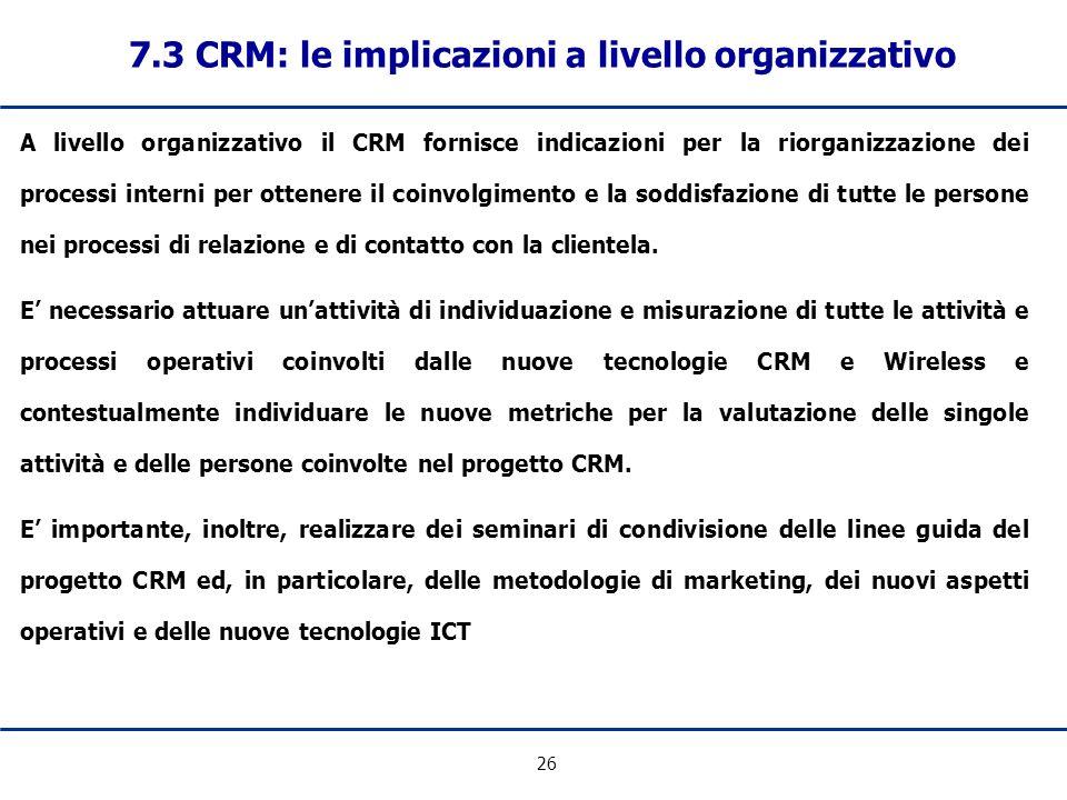 7.3 CRM: le implicazioni a livello organizzativo
