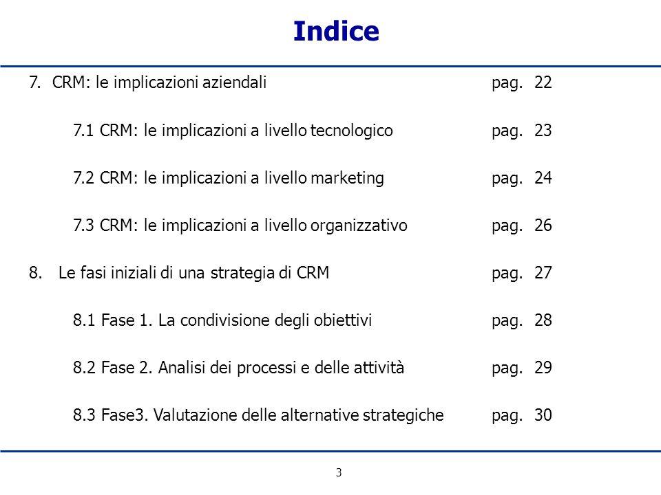 Indice 7. CRM: le implicazioni aziendali pag. 22