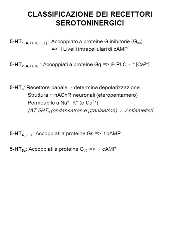 CLASSIFICAZIONE DEI RECETTORI SEROTONINERGICI