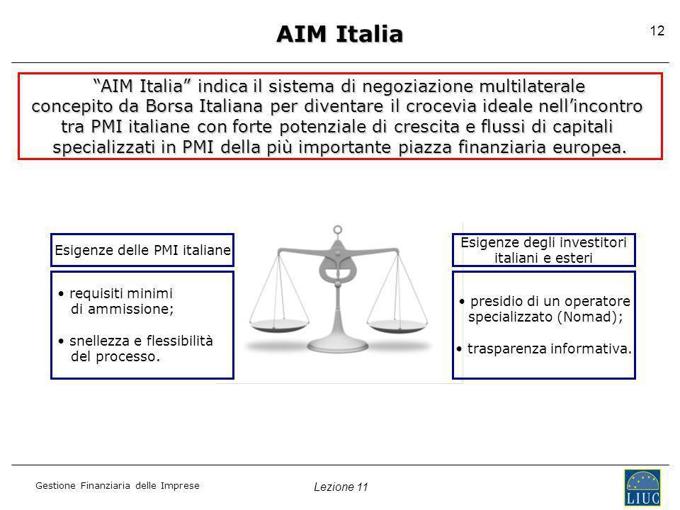 AIM Italia AIM Italia indica il sistema di negoziazione multilaterale. concepito da Borsa Italiana per diventare il crocevia ideale nell'incontro.