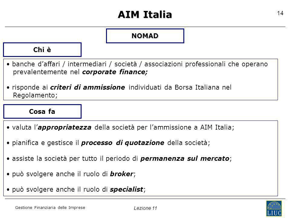 AIM Italia NOMAD. Chi è. • banche d'affari / intermediari / società / associazioni professionali che operano.