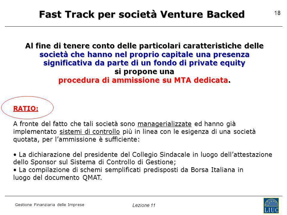 Fast Track per società Venture Backed