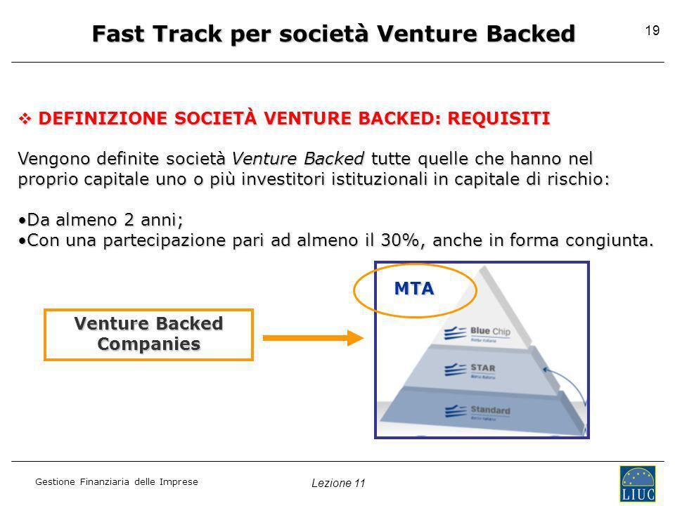Fast Track per società Venture Backed Venture Backed Companies
