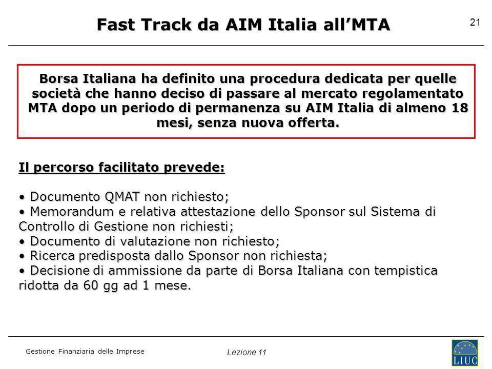 Fast Track da AIM Italia all'MTA