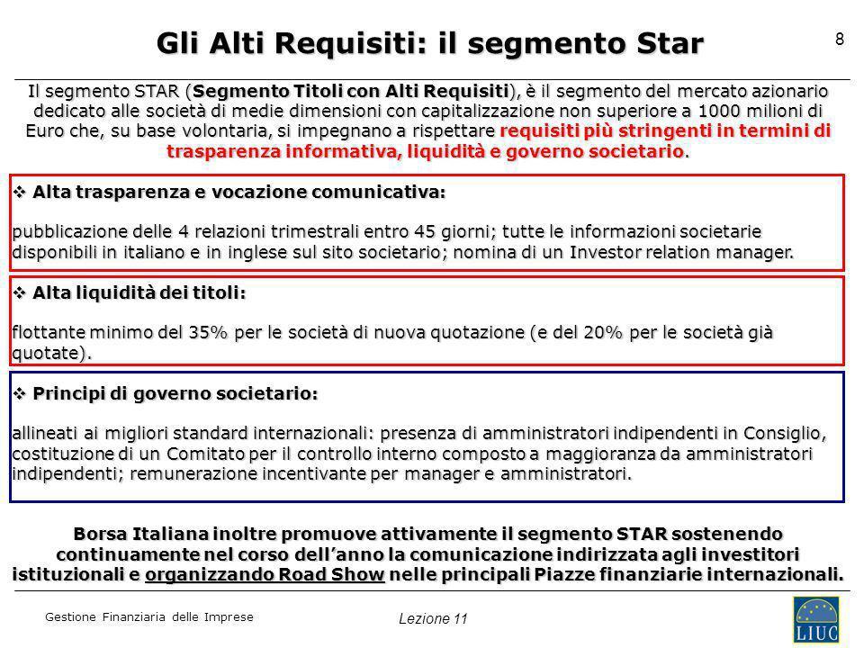 Gli Alti Requisiti: il segmento Star