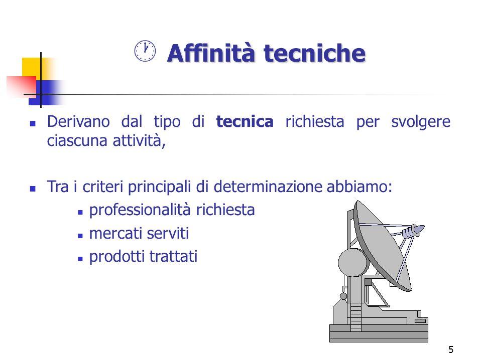 Affinità tecniche Derivano dal tipo di tecnica richiesta per svolgere ciascuna attività, Tra i criteri principali di determinazione abbiamo: