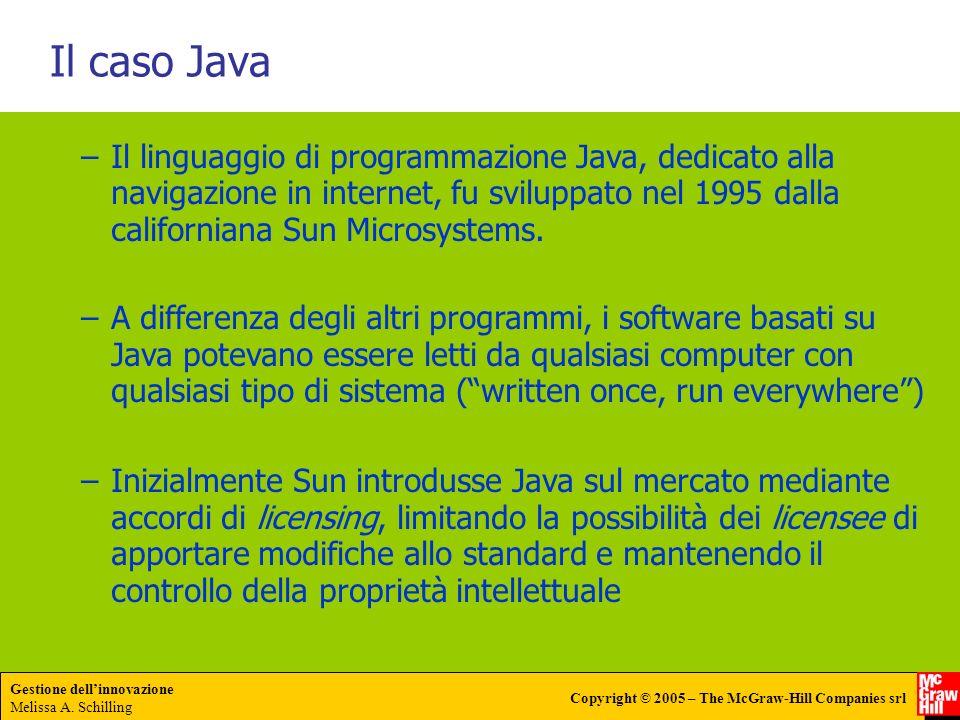 Il caso Java Il linguaggio di programmazione Java, dedicato alla navigazione in internet, fu sviluppato nel 1995 dalla californiana Sun Microsystems.