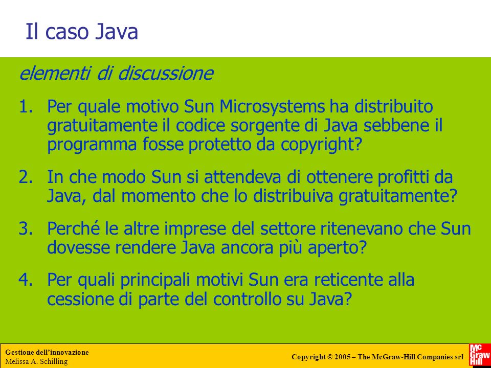 Il caso Java elementi di discussione