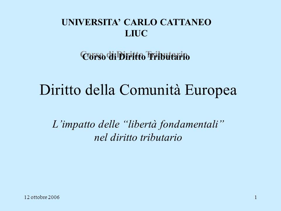UNIVERSITA' CARLO CATTANEO Corso di Diritto Tributario