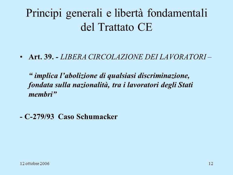 Principi generali e libertà fondamentali del Trattato CE