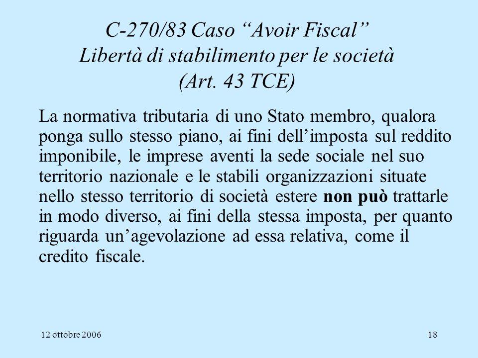 C-270/83 Caso Avoir Fiscal Libertà di stabilimento per le società (Art. 43 TCE)