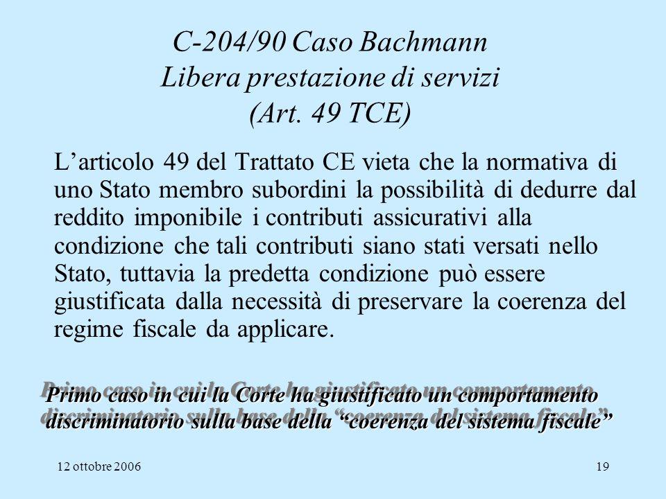C-204/90 Caso Bachmann Libera prestazione di servizi (Art. 49 TCE)