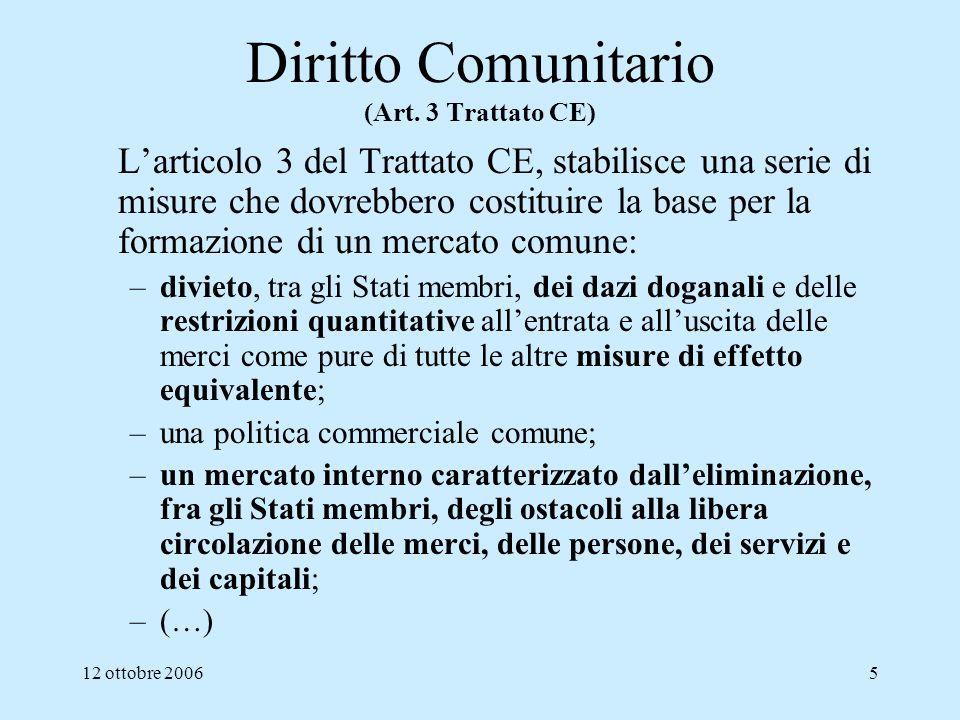Diritto Comunitario (Art. 3 Trattato CE)