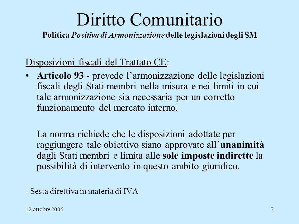 Diritto Comunitario Politica Positiva di Armonizzazione delle legislazioni degli SM