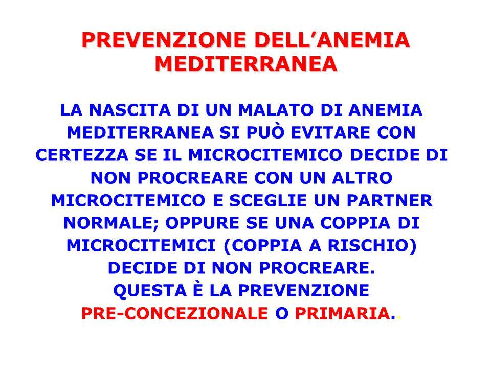 PREVENZIONE DELL'ANEMIA MEDITERRANEA