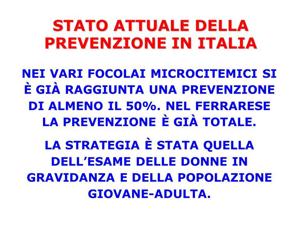 STATO ATTUALE DELLA PREVENZIONE IN ITALIA