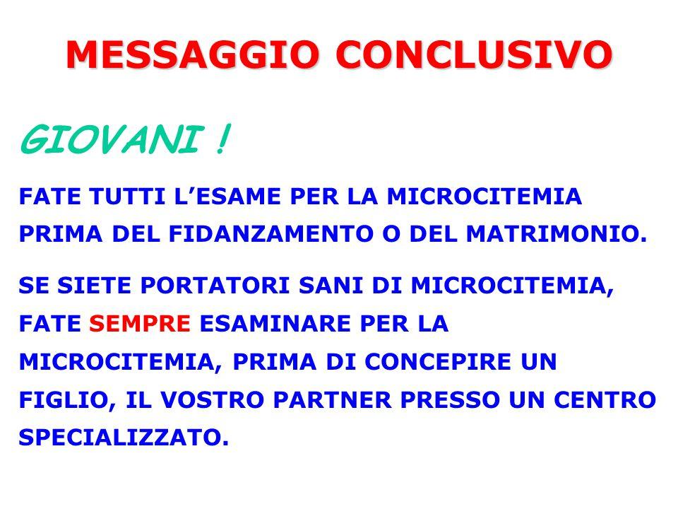 MESSAGGIO CONCLUSIVO GIOVANI !