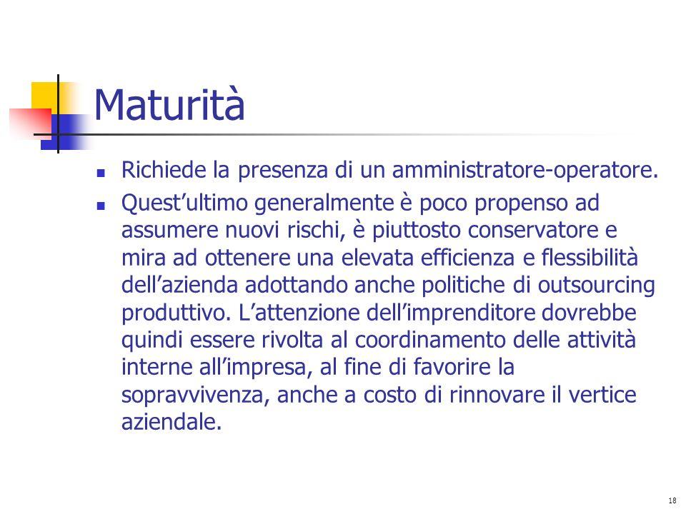 Maturità Richiede la presenza di un amministratore-operatore.