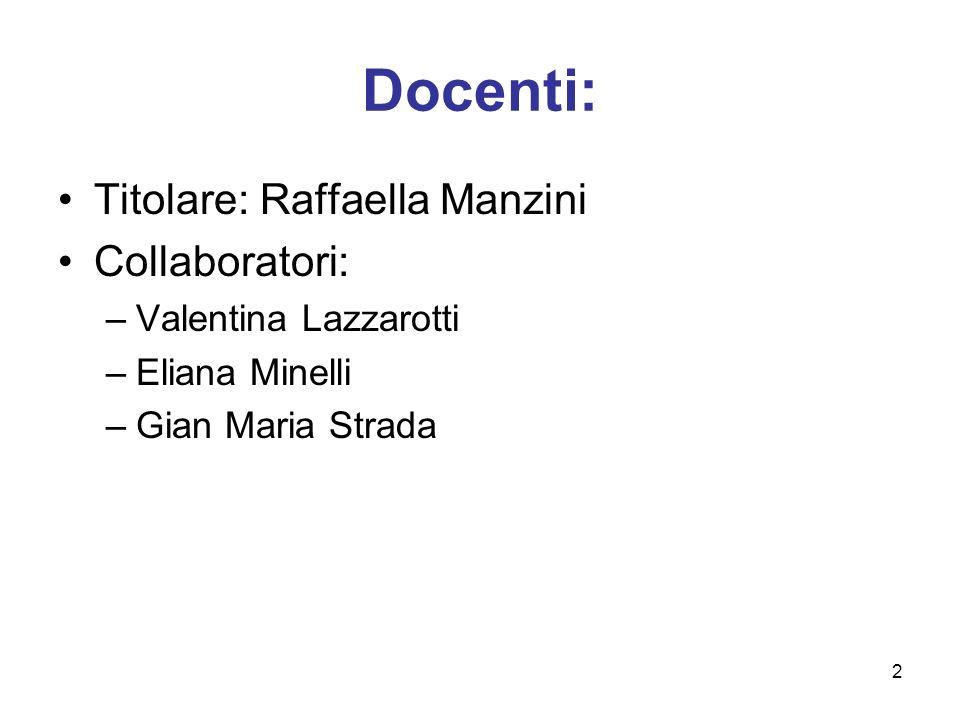 Docenti: Titolare: Raffaella Manzini Collaboratori: