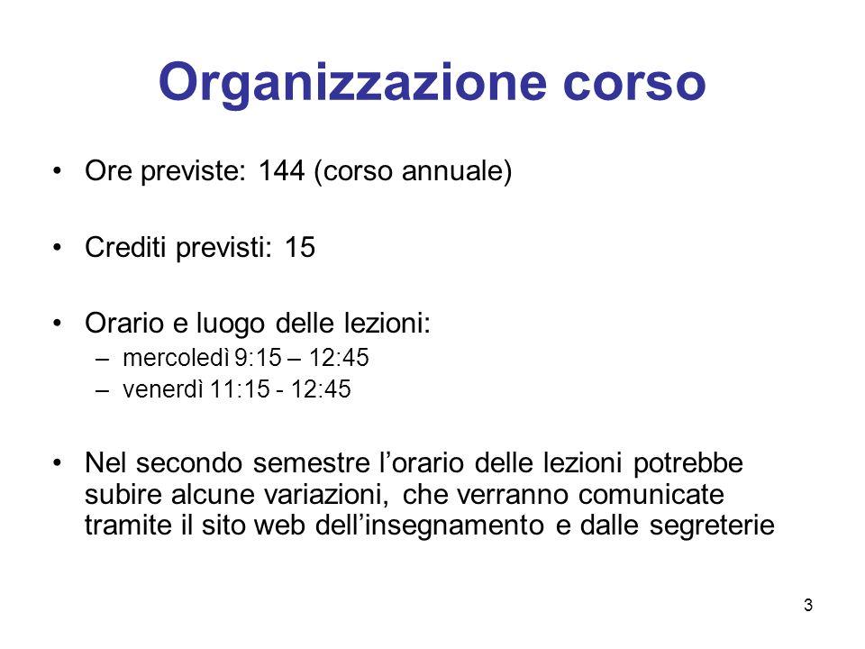 Organizzazione corso Ore previste: 144 (corso annuale)