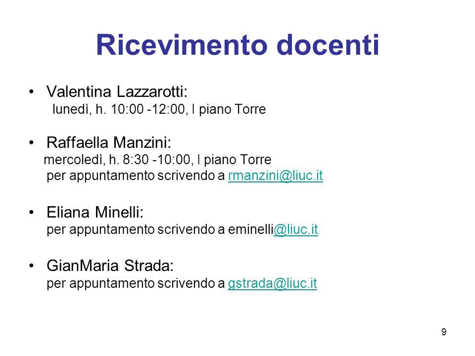 Ricevimento docenti Valentina Lazzarotti: Raffaella Manzini: