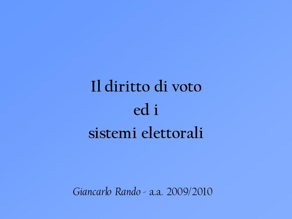 Il diritto di voto ed i sistemi elettorali