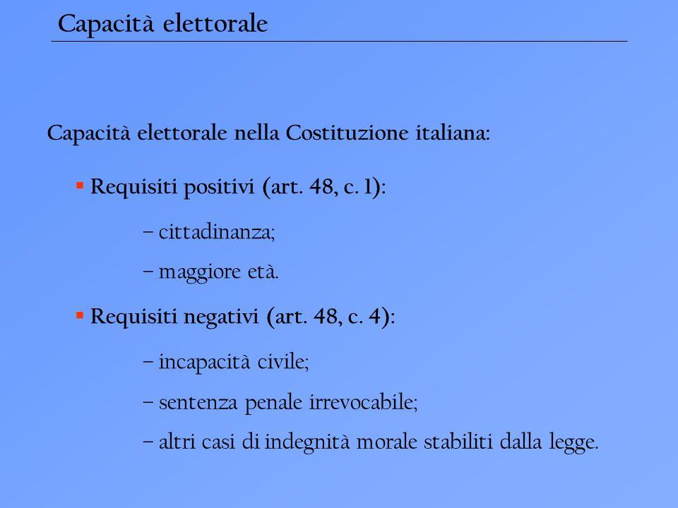 Capacità elettorale Capacità elettorale nella Costituzione italiana: