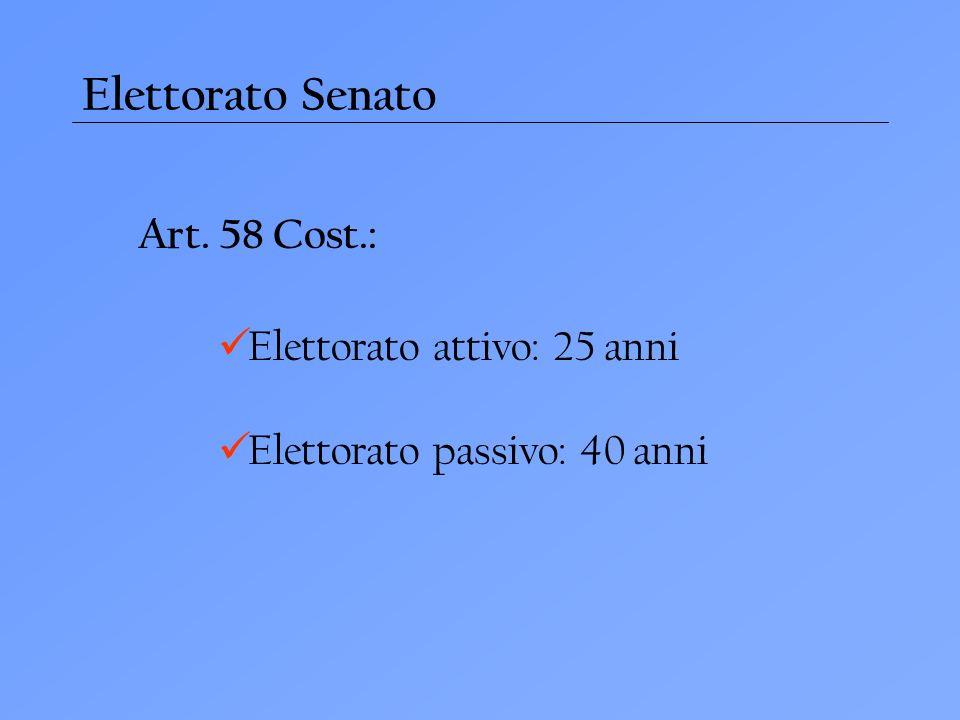Elettorato Senato Art. 58 Cost.: Elettorato attivo: 25 anni