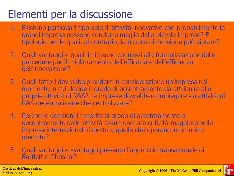 Elementi per la discussione