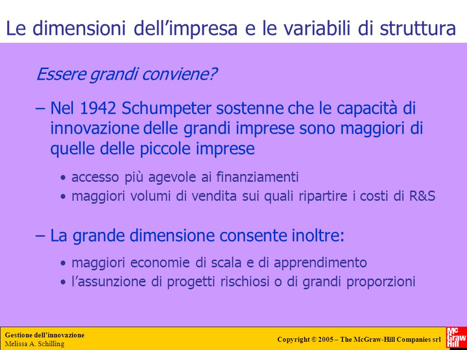 Le dimensioni dell'impresa e le variabili di struttura