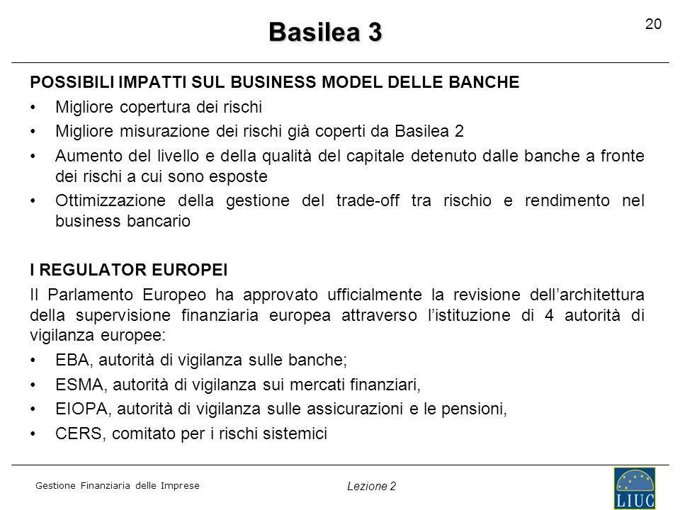 Basilea 3 POSSIBILI IMPATTI SUL BUSINESS MODEL DELLE BANCHE