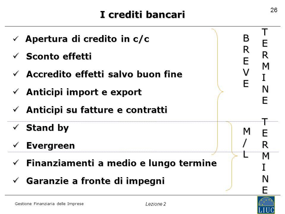 I crediti bancari TERMINE BREVE TERMINE M/L Sconto effetti