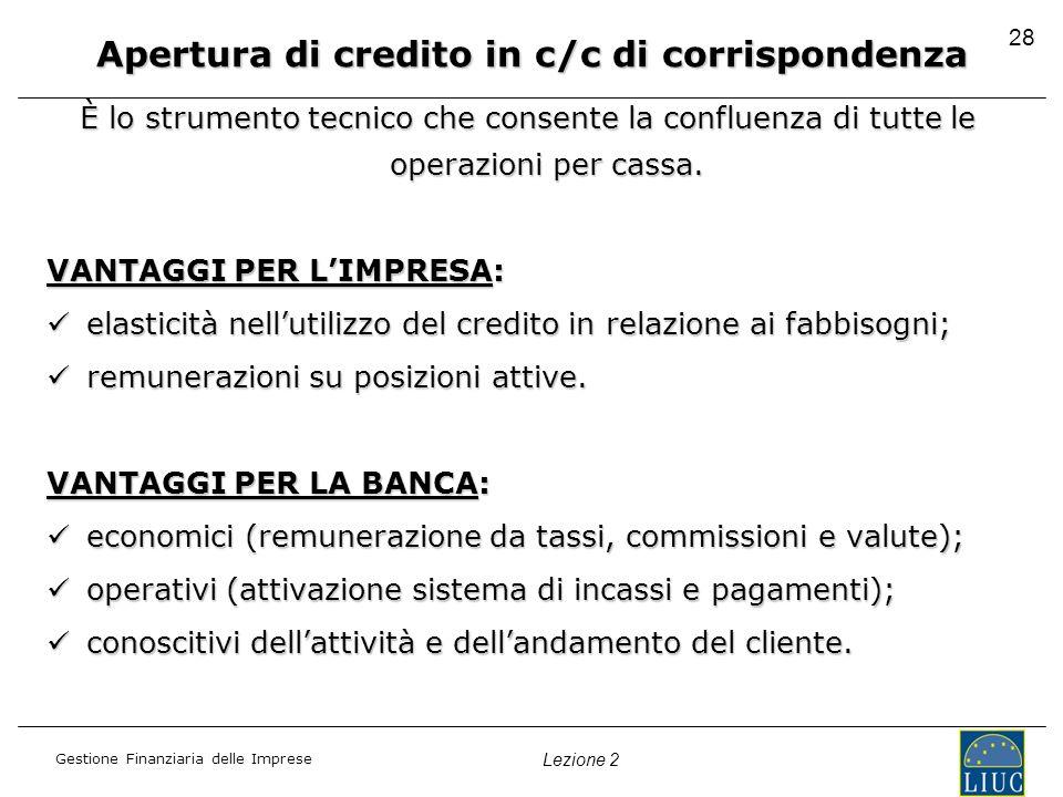 Apertura di credito in c/c di corrispondenza