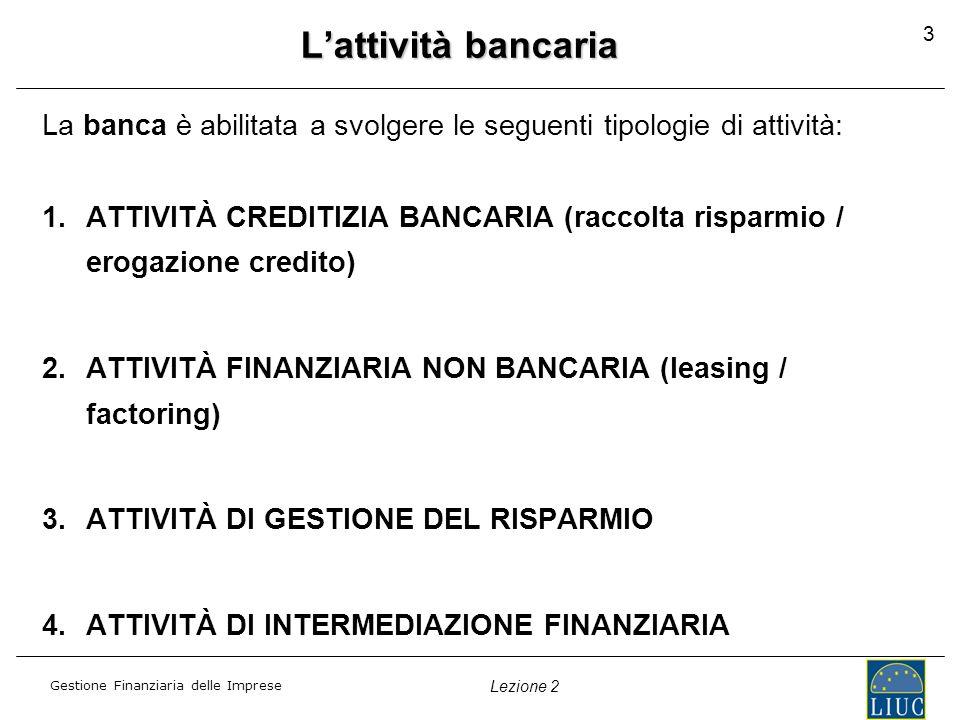 L'attività bancaria 3. La banca è abilitata a svolgere le seguenti tipologie di attività: