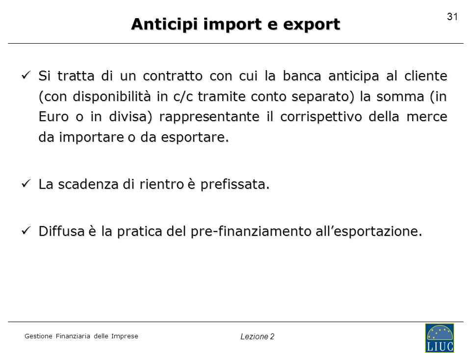 Anticipi import e export
