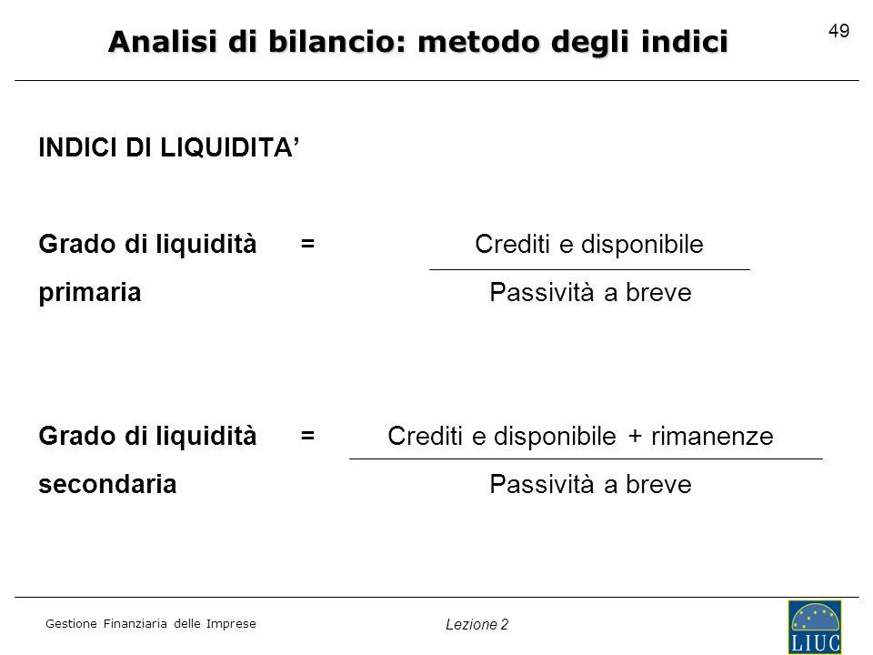 Analisi di bilancio: metodo degli indici