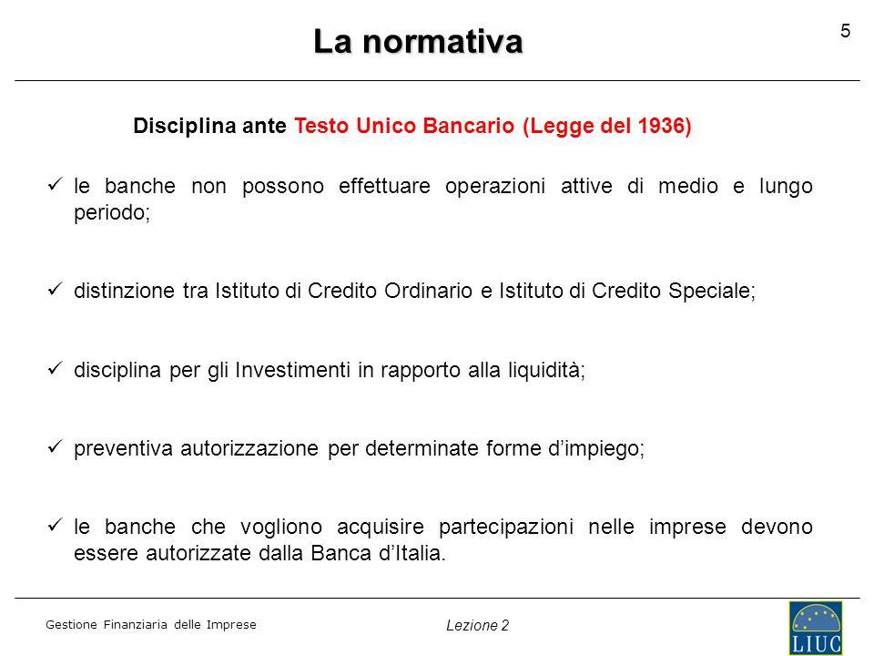 Disciplina ante Testo Unico Bancario (Legge del 1936)