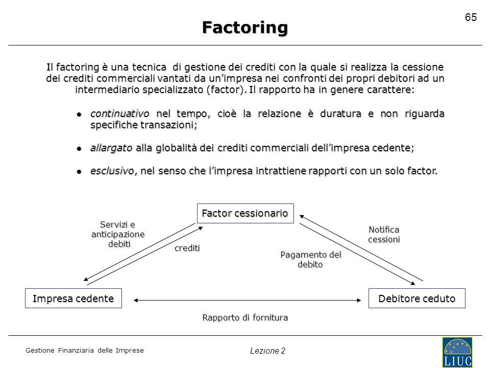 Factoring 65. Il factoring è una tecnica di gestione dei crediti con la quale si realizza la cessione.