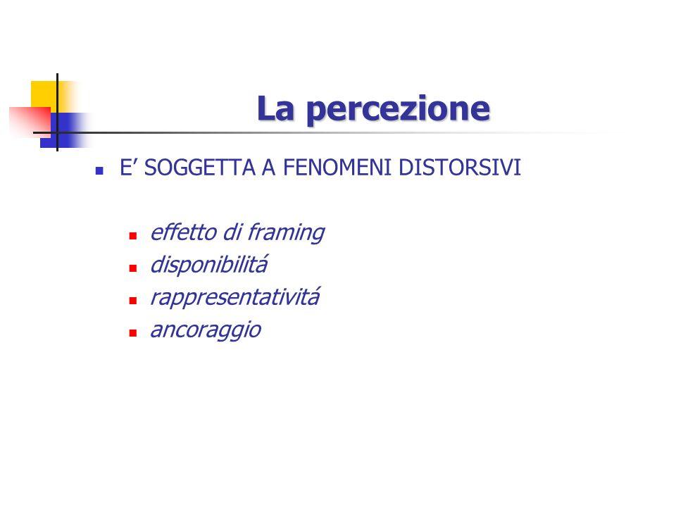 La percezione E' SOGGETTA A FENOMENI DISTORSIVI effetto di framing