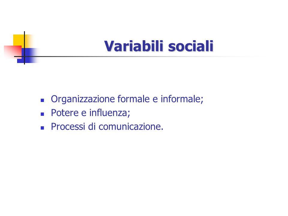 Variabili sociali Organizzazione formale e informale;