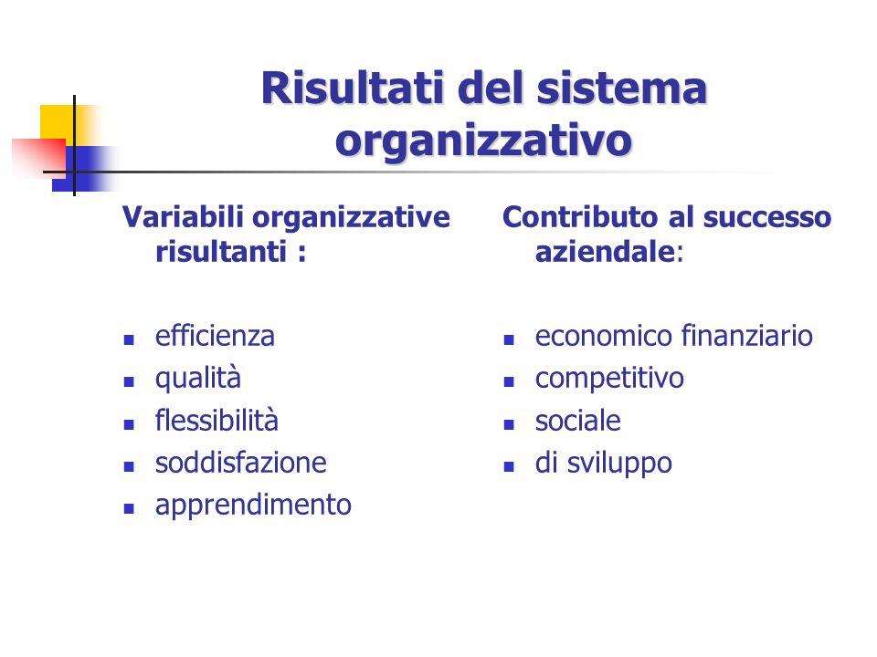 Risultati del sistema organizzativo