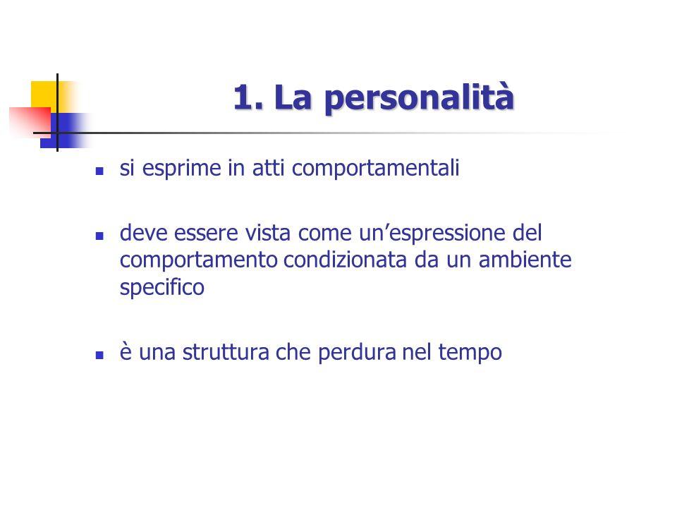1. La personalità si esprime in atti comportamentali