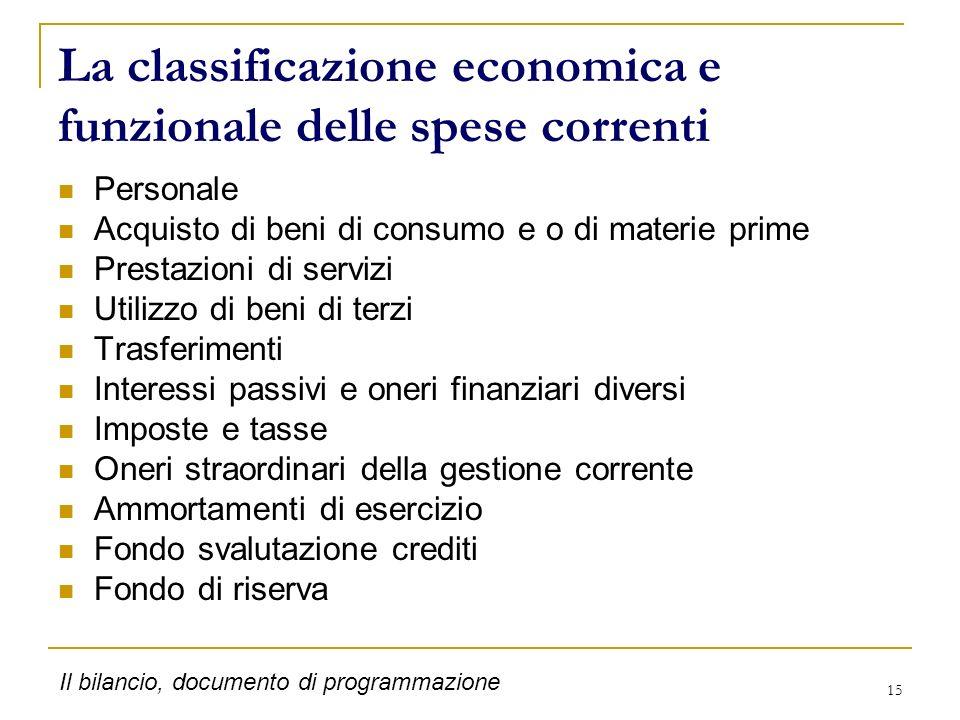 La classificazione economica e funzionale delle spese correnti