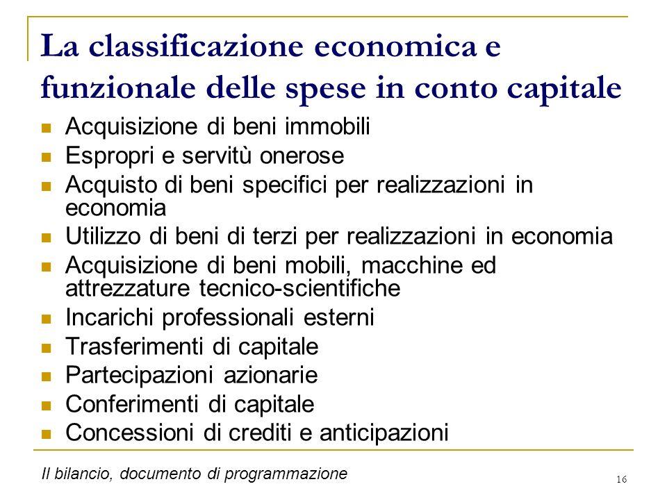 La classificazione economica e funzionale delle spese in conto capitale