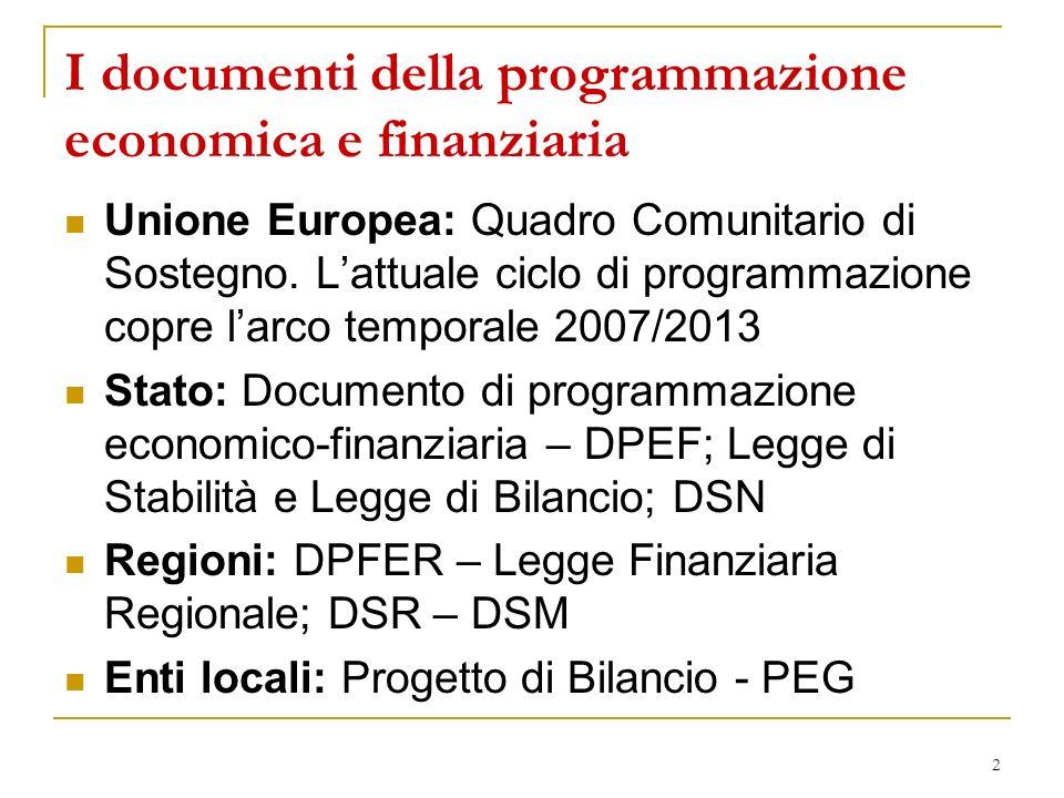 I documenti della programmazione economica e finanziaria