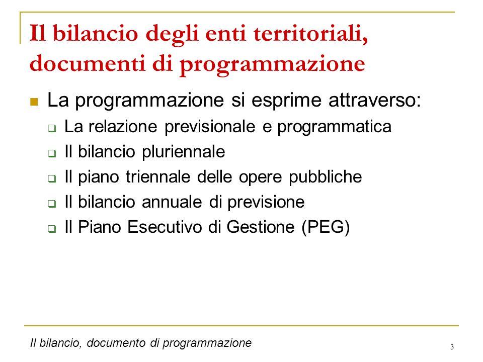 Il bilancio degli enti territoriali, documenti di programmazione